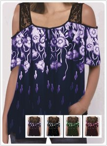 B8U8E 2020 코트의 짧은 소매 느슨한 T 셔츠 최고 2020 여성의 레이스 인쇄 코트 실크 스크린 레이스 실크 스크린 반소매 느슨한 T-쉬 인쇄