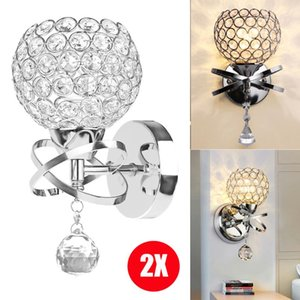 2PCS Modern Style LED Wall Lamp Crystal Pendant Stair Light Holder E14 Socket (No Bulb Included) Home Decoration Lighting