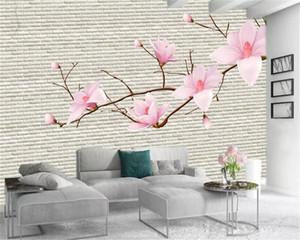 Custom 3d Flower Wallpaper Pink Magnolia Flower Vintage Brick Wall Atmospheric Interior Decoration Wallpaper