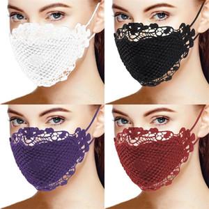 Dentelles Plaid Bouche Visage Masques Couleurs Muti Lavable Mascarilla Coton Noir Violet inhalables Mascherine Réutilisable Mode Femme Lady 4 5xba C2