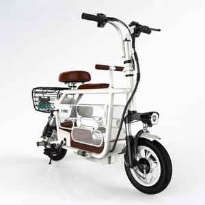 Portáteis scooter elétrico de 12 polegadas Duas Rodas 48V bicicleta elétrica 400W dobrável elétrico Bicicletas Adultos crianças com dois lugares