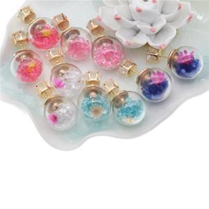 earrings glass ball dried flower stud earrings pink purple blue Rhinestone floating lockets earring for women oorbellen