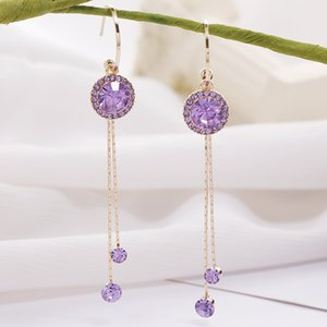 Fairy Purple Crystal Earrings Elegant Long Tassel Earrings Sense of Quality Online Influencer Earrings Womens Silver Stud