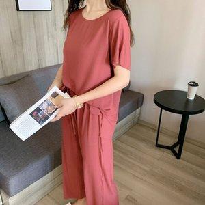 2020 Spring Summer fino novo on-line e verão novas roupas vermelhas online criado roupas de mulher para casa modal casual ao ar livre tamanho grande conjunto de duas peças