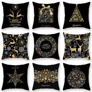HOT Christmas Decoration Christmas pillow Case English letter golden elk print simple sofa with black pillow Case 45 * 45cm 120PCS T500283
