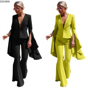 GL Autumn Winter Tracksuits Irregular Full Flare Sleeve Blazers + Pants Suit 2 Piece Set Office Lady Uniform Women's Set LS8021 X0924