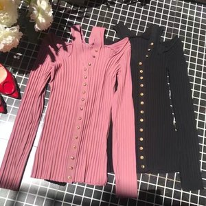 Early spring new Korean style V-neck collarbone slim all-match knitted cardigan long sleeve hollow coat for women T41W