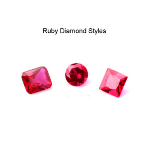 DHL!!! Ruby Insert Diamond Styles Round Rectangle Square Ruby Insert For Beveled Edge Quartz Banger Nails Glass Water Bongs Dab Rigs Pipes