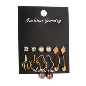 Hot selling temperament set earrings fashion pearl geometric earrings 6 pairs of earrings wholesale