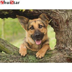 100% Полный DIY 5D Алмазные Картина Pet собака, немецкая овчарка Cross Stitch Алмазные рисунков вышивания Стразы Алмазная Мозаика WH