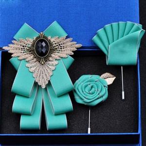 New Fashion Rhinestone Bow Tie Men's Groomsman Wedding Dress Groom Suit British Style Bowtie Set Pocket Square Gift for Men