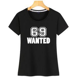 69 Se busca Mujeres camiseta divertida de cuello redondo anti-arrugas de manga corta Nuevo estilo personalizado