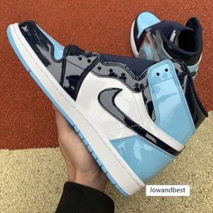 2020 ad alta OG inJordan1 Retro scarpe da basket 1s Toe nero bianco UNC brevetti uomini donne scarpe da ginnastica formatori Reali