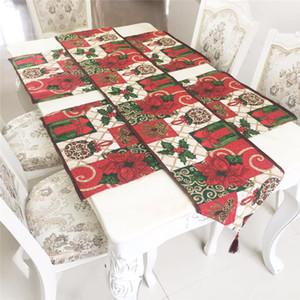 Corredor de mesa de Navidad 33 * 180 cm Algodón de poliéster mezclado Santa Elk Snowflake Mantel de Navidad Fiesta de Navidad Decoraciones de cocina EWD763