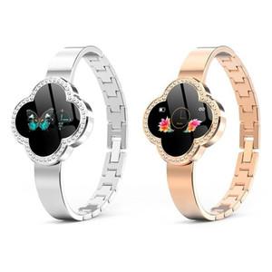 cgjxs S6 écran couleur intelligente bande Moniteur de fréquence cardiaque Quatre -Leaf Clover Dial 0 0,96 pouces d'affichage durable intelligente Femme Bracelet