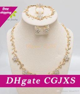 Crystal Fashion colar anel pulseira conjuntos brincos Presentes / elegantes da festa Mulheres Gold Silver Plated Africano Sets bijuterias,