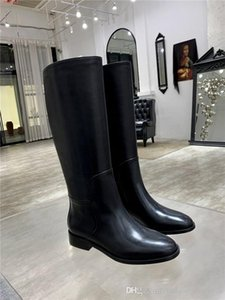 Womens Classic black leather knee Boots, fashionable boots,Slip-on Leather sole low heel Half boots With box Size 35-40