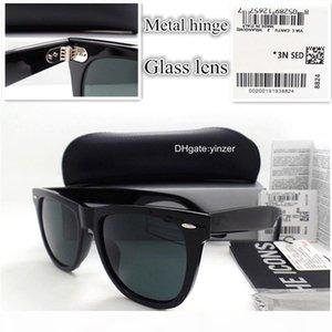 Lente de vidro clássicos óculos de sol das mulheres dos homens Marca Designer Praça Unisex UV400 Goggle 52MM 54MM Plano Outdoor Placa óculos de sol com caso