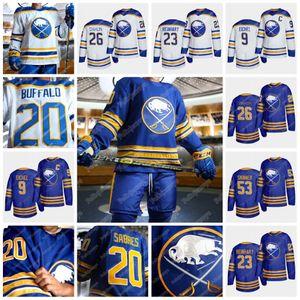 9 Jack Eichel avec le patch C Buffalo Sabres 2020-21 Retour à Royal Jersey 26 Rasmus Dahlin 23 Rasmus Ristolainen 53 Jeff Skinner Hockey