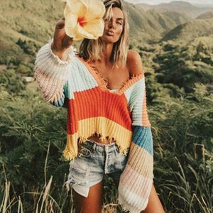 Sexy Rainbow Color Striped Pullovers Women Fringed Deep V neck Sweater Jumper Crop Autumn Knit Shirts Long Lantern Sleeved Tops