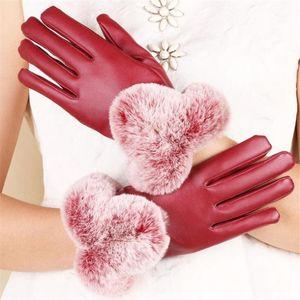 VISNXGI Berührt Schirm PU-Leder Frauen Handschuhe wasserdichte Kunstpelz dicke warme Winter-volle Finger-Handschuhe Weihnachtsgeschenk