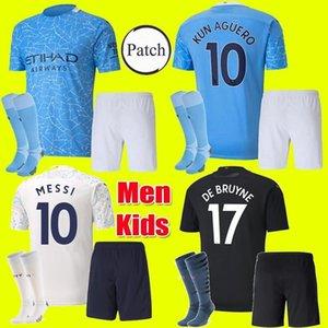 Adultos crianças Kit 20 21 Manchester JESUS De Bruyne KUN AGUERO camisa de futebol da cidade 2020 2021 MAN MESSI Mahrez camisa jersey terceiro futebol