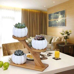 3 уровня Крытый тыквы сочной Горшки плантатор Современный сад Bamboo подставка Set стол