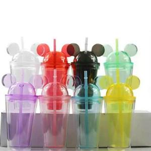 8colors 15 oz acrílico vaso con tapa de cúpula más Paja Tumblers de plástico transparente de doble pared con oreja ratón reutilizable linda bebida taza encantadora