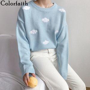 Colorfaith Nouveau 2020 Automne Hiver Pull en tricot élégant overs Minimaliste vrac Pullovers sauvage LJ200815