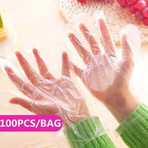 100pcs / BAG Ucuz Tek Plastik Eldiven Gıda Hazırlık Eldiven Mutfak Yemek Hizmet Temizleme Eldiven Pişirme