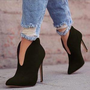 Shujin Seksi Kadınlar Boots 2020 Sonbahar V-Yaka Yüksek Topuklar Bilek Ayakkabı Çizme Sivri Burun Botlar Feminina Kadın Düğün Ayakkabı CX200819