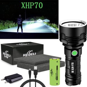 300000 lm powerful led xhp70 flash light xml l2 LED torch rechargeable USB waterproof 18650 OR 26650 Torch hand lamp
