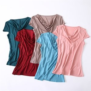 New summer knitted silk swing collar short-sleeved T-shirt female high-end mulberry silk wild slim solid color hood sleeve top 0924