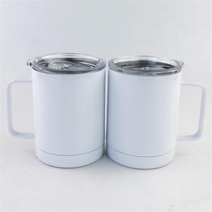 Kol Beyaz Paslanmaz Çelik İzoleli Kahve Bardaklar Çift Duvar Vakum Araç Kupası Taşınabilir Seyahat Mug ile 10 oz Blank Sublime Şarap Tumbler