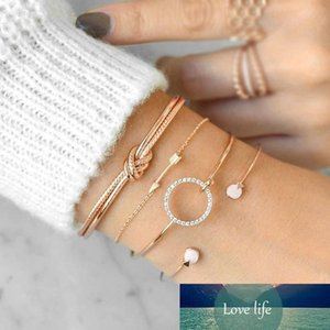 4Pcs Set Simple Women Knot Round Set Auger Arrow Bracelets Gold Silver Bangle Alloy Charm Hand Chain Open Bracelet Jewelry Statement Gifts