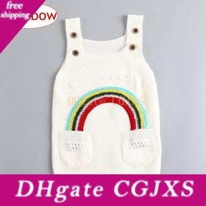 Ins Çocuk Kız Gökkuşağı Pamuk Elbise Bebek Kız Örme Triko Suspender Etek İlkbahar Sonbahar Çocuk Giyim 1 Bedava Gemi -4years