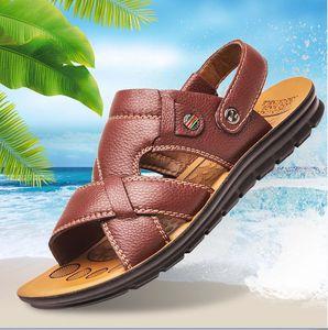 Genuine leather sandal double use stripe stud fashion sandals non-slip beach shoes soft massage slippers z323