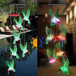 Outdoor Solar Wind Chime Lamp LED Hummingbird Wishing Bottle Wind Chime Christmas Decoration Holiday Gift Free DHL