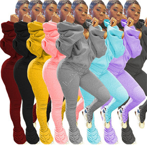 Women Two Pieces Outfits Hooded Tracksuit Backless Hoodie Blouses Sweater and Stacked Pants Leggings Fashion Casul Sport Suit Clothing D9108