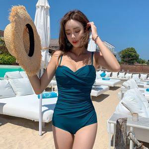 Koreli küçük göğüs çelik destek Kore Sürüm Yeni tek parça boyutu kaplıca bikini kadınlar için bikini tatil mayo mayo