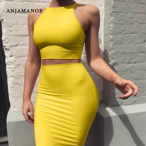 ANJAMANOR Crop Top and Skirt Two Pieces Dress Set Yellow Club Summer Outfit Sexy Clothes for Women Matching Sets D53-BD21 X0923
