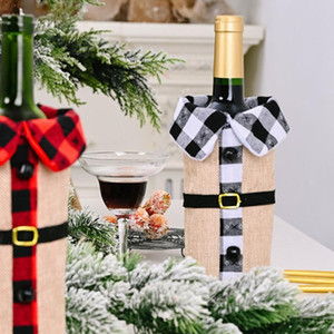 2pcs Xmas Wine Bottle Cover Wine Storage Bag Reusable Bottle Christmas Decorative (Red And Black,Black And White Each for 1)