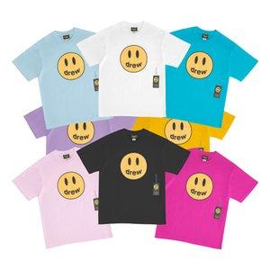 2020 Drew House camiseta de la sonrisa dibujó Hip Hop para hombre camiseta de la moda camiseta de manga corta del O-Cuello de algodón