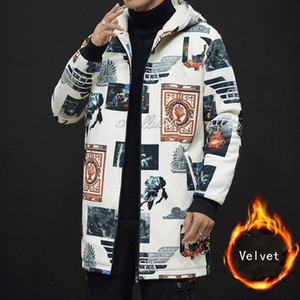 Neue Winter Männer Art und Weise größere Größen Druck Fleece Graben plus Samt verdicken Mantel Medium langen Trenchcoat männlich chinesischen Stil