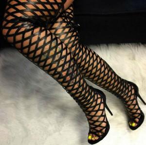 Sexy Gladiator Nero gabbia Stivali Peep Toe Cut-out sopra il ginocchio stretta Scarpe alti sandali Stivali della signora vestito Tacchi sottili più il formato