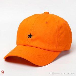 Stern-Dame-Hüte der Männer Caps Adjustable Six-Panel Baseball Cap Cotton Stoff Beige Weiß Schwarz Hell Gelb Orange