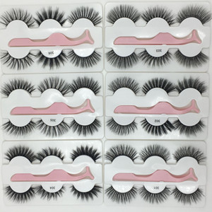 in stock newest False eyelash 3d mink lashes 3 pair lashes thick Faux 3D real mink eyelashes with tweezers in box 6styles