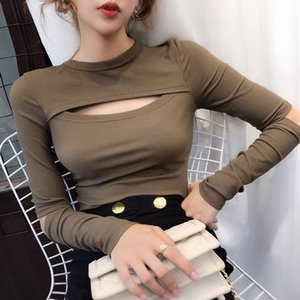 95 Cotton Design Sense Sleeves Cut Long-Sleeved T-shirt Women Ins Autumn New Style Heart Machine Hollow Slim Solid Color Base Shirt