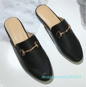 Hot Sale-Brand Mules Princetown Women Slippers Mules Flats Genuine Leather Fashion Metal Chain Ladies Casual shoes size 34 - 41 cson1