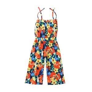 Summer flower girls jumpsuit floral girls braces suspenders fashion beach pants kids  clothes girls trousers kids clothes B1934